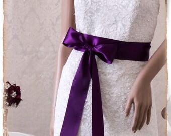 PLUM  Satin Bridal Sash, Wedding Dress Sash, Satin Ribbon Bridal Belt, Bridal Sash, Satin Wedding Sash, Bridesmaids Sash