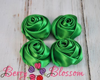"""Emerald Green Satin Rosette - 2"""" inch size - satin rose flowers - rolled soft rosette - Set of 4 or 8 pieces"""