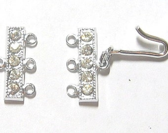 Silver Rhinestone Rhodium Plated Hook Clasps 2 pairs - Triple Strand Necklace Findings Mint condition