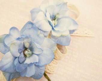 delphinium bobby pins, floral bobby pins, flower bobby pins, wedding hair accessories
