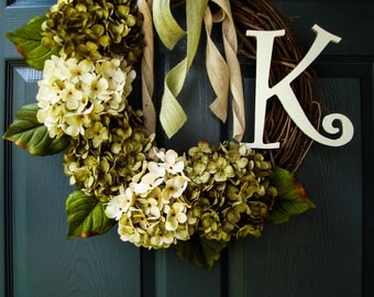 Wreath | Green & Cream Hydrangea Colors | Wreaths | Rustic Wreath | Wedding Gift | Housewarming Gift | Rustic Decor | New Home Gift