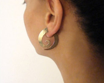 Hoop earrings , fake gauge earring , gold Earrings , Metal Earring , Big Earring , Statement Earrings .