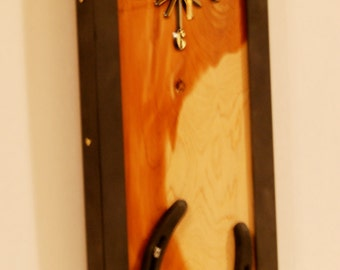 Handmade - One of a kind, Western Decor Horseshoe Clock with Cedar wood and angle iron