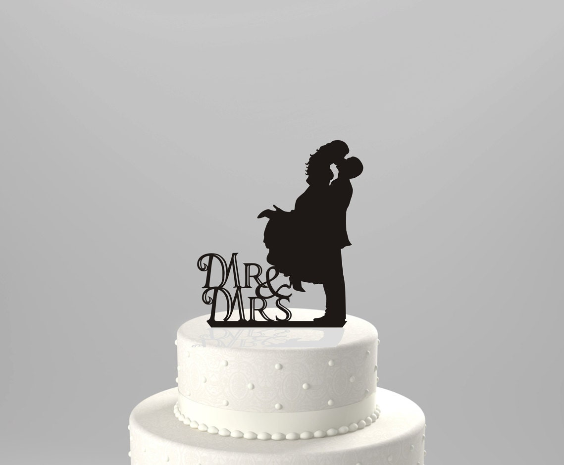 Ships Next Day Wedding Cake Topper Silhouette Couple Mr