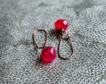 Red stone earrings, Red chalcedony drop, Raspberry red, Gemstone earrings, Red dangle earrings, Red drop earrings, Brass dangle earrings