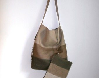 Zen bag - Color block linen shoulder bag and zipper clutch: sand beige, khaki and olive - hobo bag, shopping tote, summer bag set