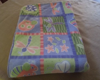 Ladybug and Dragonfly Children's Homemade Fleece Blanket, 36 x 60