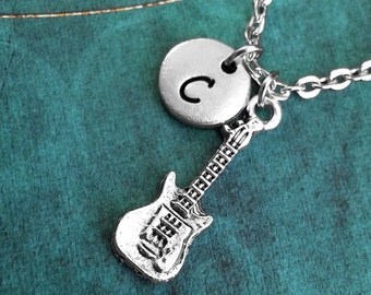 Electric Guitar Necklace, Guitar Gift, Personalized Necklace, Gift for Guitarist, Monogram Necklace, Guitar Charm Necklace, Musician Gift