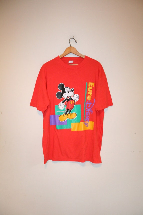 Euro disney mickey size large 90s t shirt by for Oversized disney t shirts