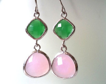 Green and Pink Crystal Earrings. Pink  and Green Dangles. Green Onyx and Pink Quartz Chandeliers. Bridal, Bridesmaids Gifts.