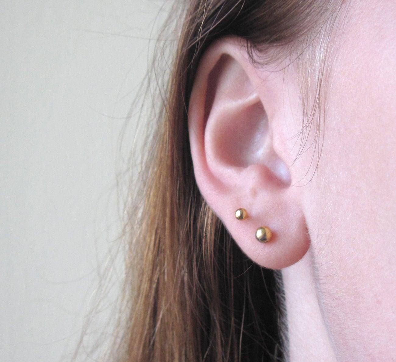gold tiny earrings gold dot earrings second 4mm