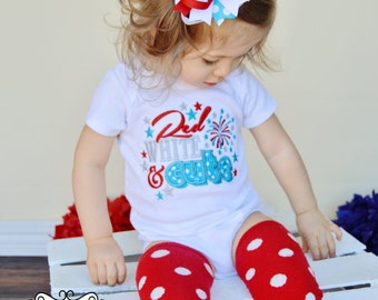 Red White and Cute - Girls 4th of July Aqua Polka dot Applique Shirt or Bodysuit & Matching Hair Bow Set with Add On Leg Warmers
