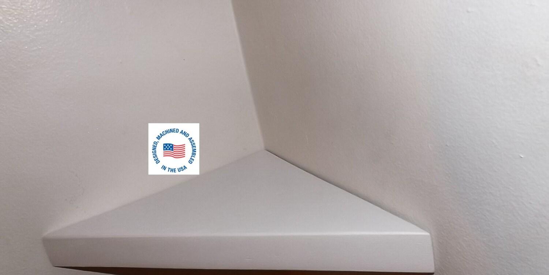 white 14 inch floating corner shelf with satin by. Black Bedroom Furniture Sets. Home Design Ideas
