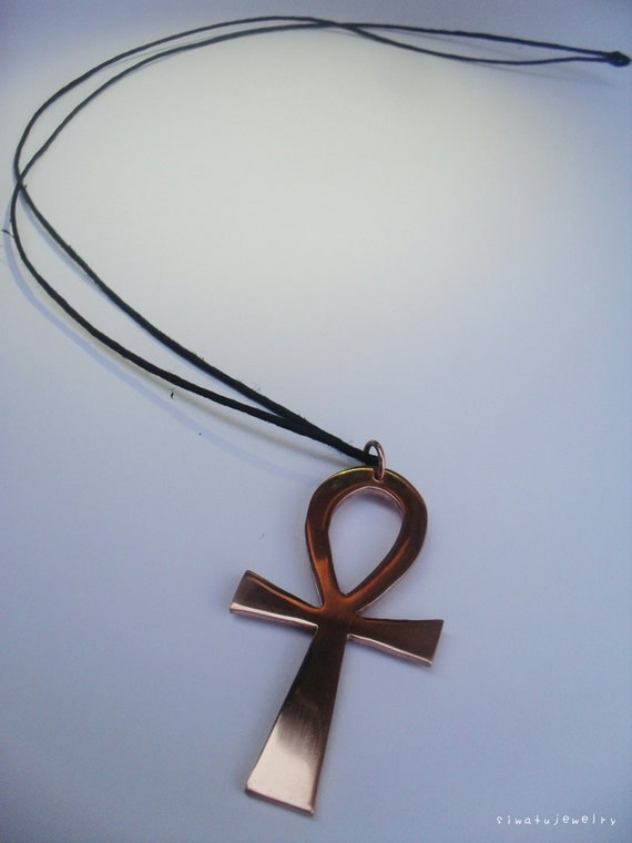 copper ankh pendant with black hemp cord by siwatujewelry