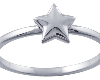 Designer 14K White Gold Stackable Ring with Star Accent by BrianG @ BrianGdesigns