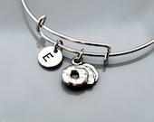 Bagel charm Bangle, Bagel bracelet, Bagle charm, Expandable bangle, Personalized bracelet, Charm bangle, Monogram, Initial bracelet