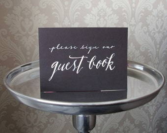 Hand Lettered GUESTBOOK Calligraphy Sign for Wedding 5x7