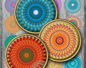 "Textured Mandalas Digital Collage Sheet, 1.5"", 1.25"", 30 mm, 25 mm, 1 inch circles, INSTANT DOWNLOAD, pendant, craft, Kaleidoscopes (KM06-c)"