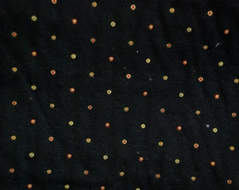 Black and Multicolored Pin Dot Fabric - Black Upholstery Fabric - Multicolored Dots - Drapery Fabric - Ottoman