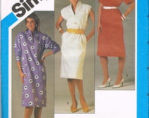 1980s Pullover Dress Pattern, Funnel Neck, Below Knee Length, Calf Length, Simple Dress Pattern, Size 10 Bust 32.5 Inches, Simplicity 6448