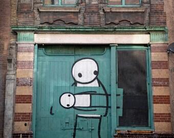 Graffiti Photography, Stik, Street Art, London Photo, Fine Art Print, Contemporary Wall Art, Urban Decor, Architecture, sage green, brown