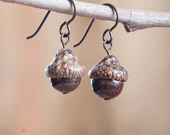 Acorn Earrings with Bronzite + Niobium (hypoallergenic) handmade by Nuttier Than A Squirrel – brown, gold, rustic, boho, fairy, neutral