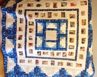 Photo Memory Quilt - Custom Designed with your pictures - Full Queen Size - Custom Family Heirloom