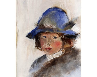 Childs Portrait Girls Portrait Blue Hat, Impressionistic Gift for Mom Nursery Art Nursery Decor Gallery Quality Print FREE US Shipping