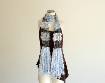 Hand Knit Lace Scarf, Light Scarf Women Scarf Accessories Blue, Grey, White, Silver Scarf