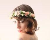 Bridal flower crown, Floral hair wreath, Whimsical wedding headpiece, Pink rose and sage - MEADOWLARK