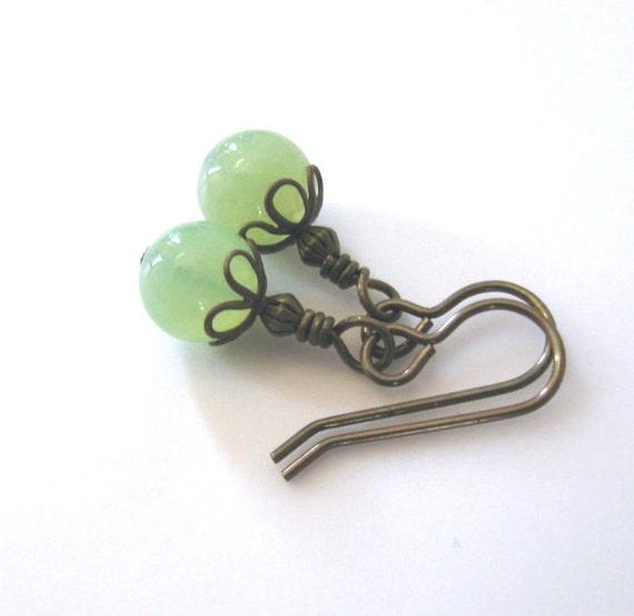 Sale, Green Chalcedony Gemstone Earrings, Key Lime, Vintaj Antique Brass