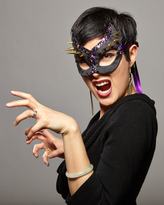 SALE - Glam-Rock Spiked Catwoman Masquerade Mask in Black, Purple, and Gold