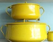 Vintage Dansk  pot Kobenstyle enamel yellow pot Made in France  extra large designed by Jens Quistgaard