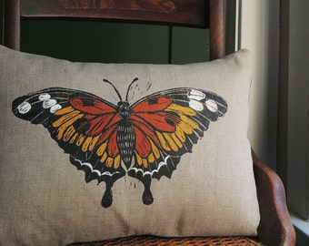 hand block printed black and orange butterfly natural linen decorative colorful pillow case spring home decor 12 x 16