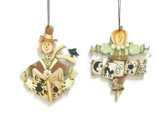 Hand Painted Halloween Ornaments | Pumpkin Scarecrow Boy or Girl