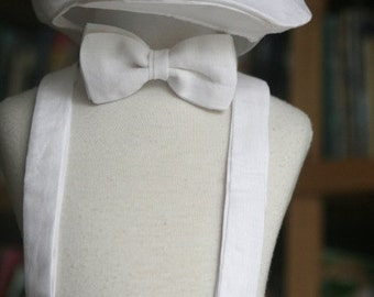 Any color and print Linen Boy set with Shorts, Bow Tie, Suspenders and Newsboy Hat ring bearer