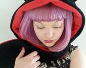 Hell kitty cat hood. Hooded scarf with ears. Fleece animal hood. Animal Hat. Halloween Costume. Cosplay costume.