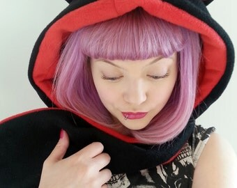 Black and red cat hood. Festival Hood. Hooded scarf with ears. Fleece animal hood. Animal Hat. Cosplay costume.
