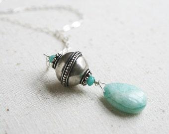 Boho Necklace, Sterling Silver Necklace, Gemstone Jewelry