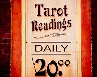 Fine Art Photography,Tarot Reading, Vintage Sign, Psychic, Salem Massachusetts, Halloween wall art, Typography, Paranormal, Fortune Teller,