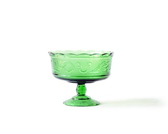 Glass Compote Bowl | Green | Large | Vintage | Pedestal Base