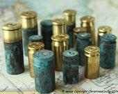 16 Brass BULLET Shell Casings -  Mixed Bundle of spent casings - 9mm, 40 caliber, 45 caliber 38 Special, Patina 16-MXGPD