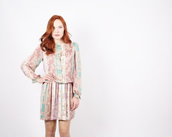 Short 80s Vintage Graphic Dress - Pastel Vintage Dress - David Warren Dress - The Dreams of Paris Dress - 5248