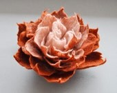 Rust Brown and Antiqued Pink Felt Flower Pin Brooch