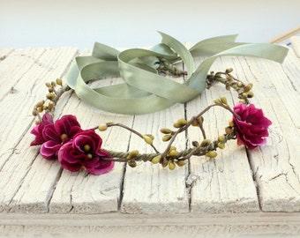 DELILAH Dark Purple Woodland Crown, Bridal Flower Crown, Woodland Boho Headpiece, Floral Headband, Flower Headpiece, Wedding Headpiece