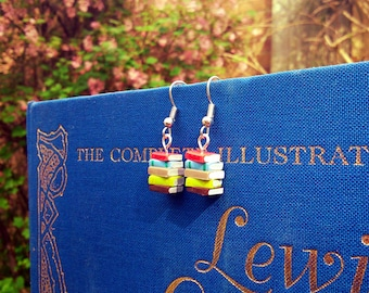Stack of Books Earrings, Spring Colours (Made to Order) - Book Jewelry by Coryographies