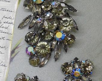 Smoky Gray Rhinestone Brooch & Earrings Set    KAZ15