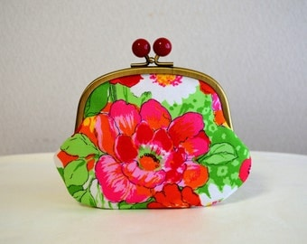 Botanical frame purse with Acryl balls - Retro, Cotton fabric, Flower, novelty,Multiple,