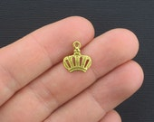 12 Crown Charms Antique Gold Tone - GC216