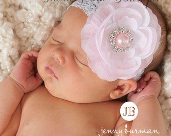 Pink Baby Headband, baby headbands,Newborn Headband,Flower Baby Headband, lace baby headband, Easter Headband,Baby Hair Bows.